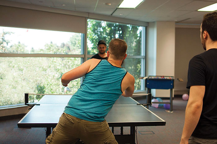 Prodigy team members playing table tennis